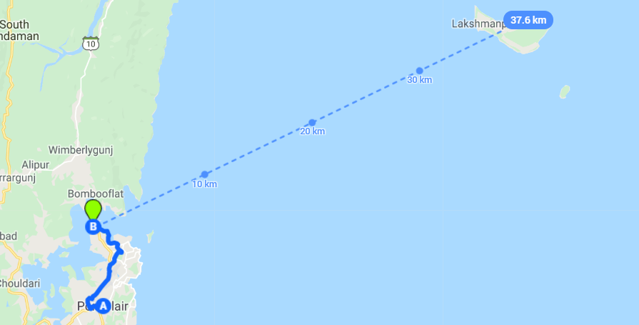 Map showing ferry route from Port Blair to Neil Island