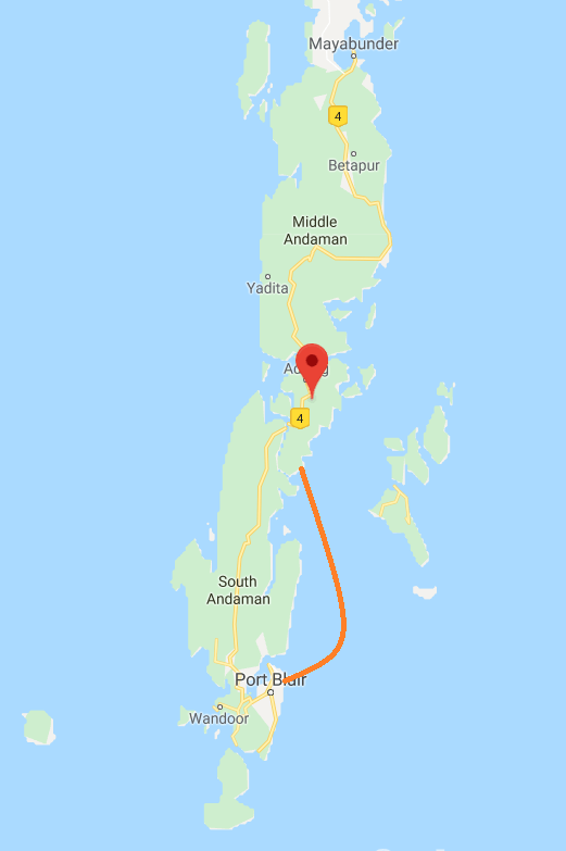 Port Blair to Baratang Ferry Route.