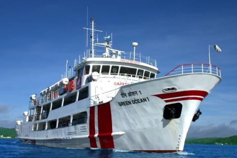 Ferry in Andaman: Green Ocean