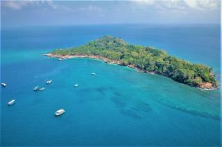 Aerial view of the Ross Island, Near Port Blair