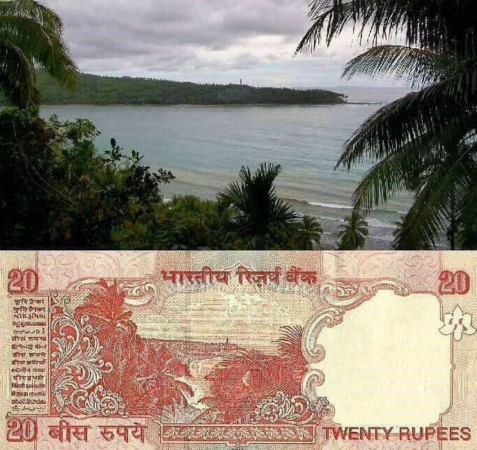 North Bay Island on 20 Rupee Indian note
