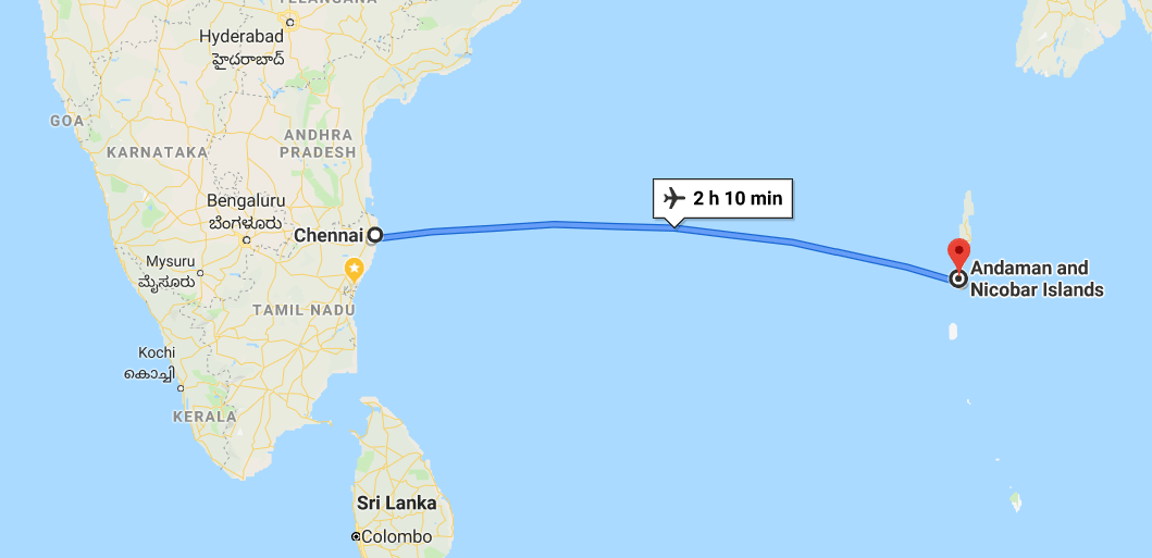 Chennai to Andaman on a map.