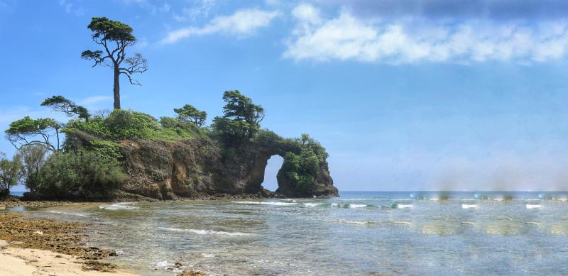 Natural Bridge Rock Formation in Neil Island