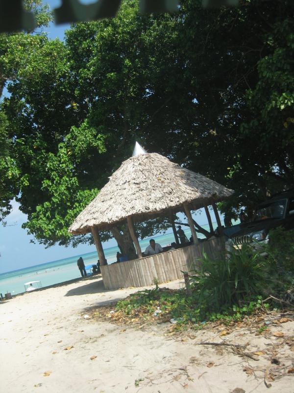 Sitting huts at Bharatpur Beach