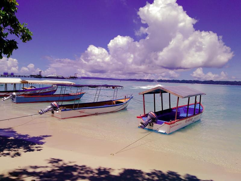 Boats at shore near Bharatpur Beach
