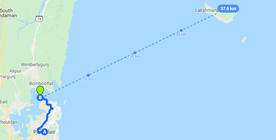 Port Blair to Neil Island Map