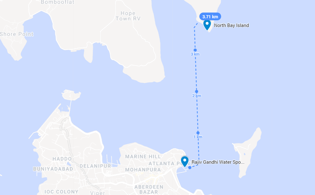 North Bay Island Map with Ferry Route