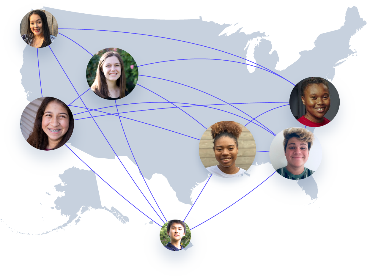 U.S. map with students