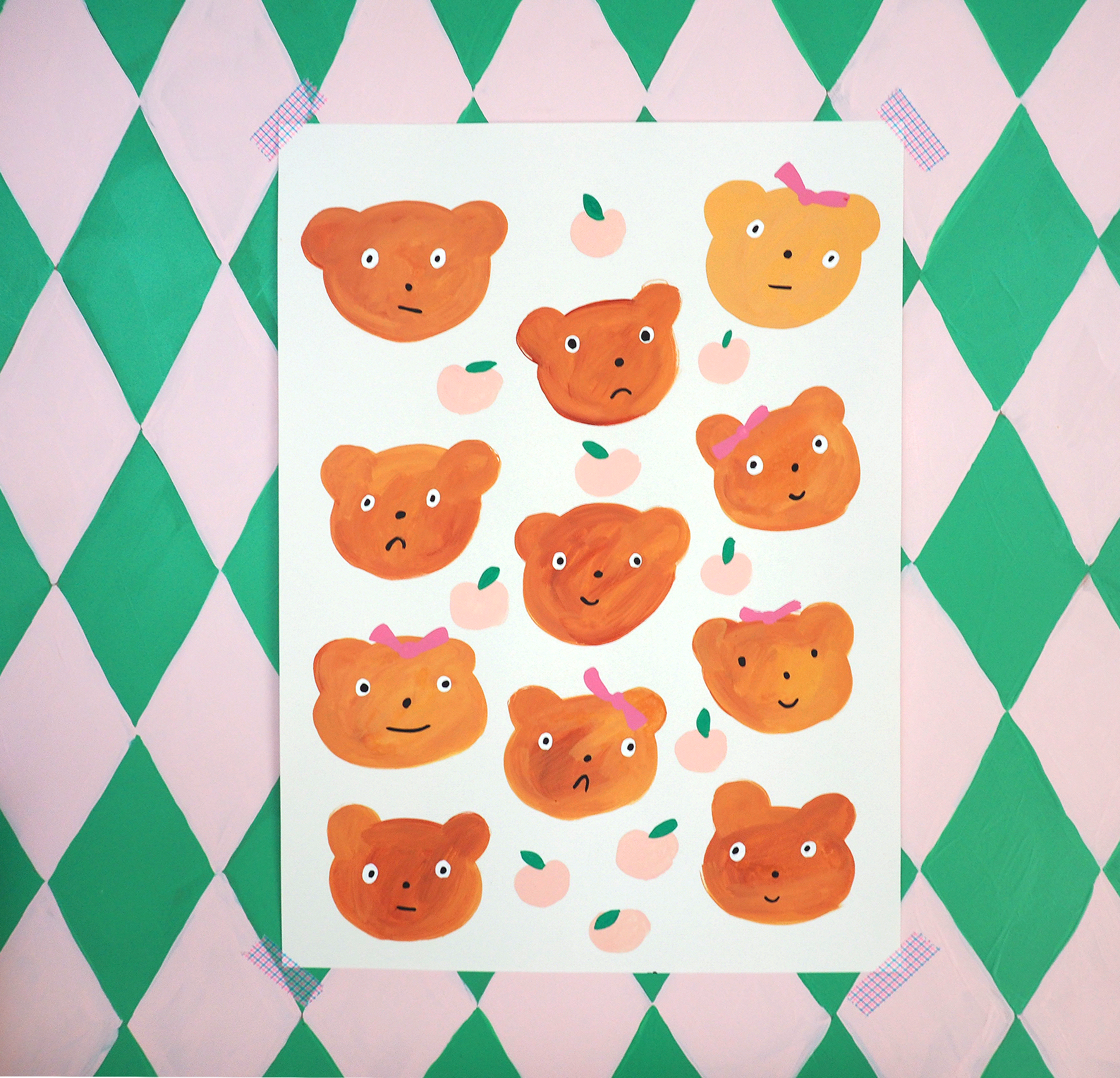 pey chi print with bears and peaches
