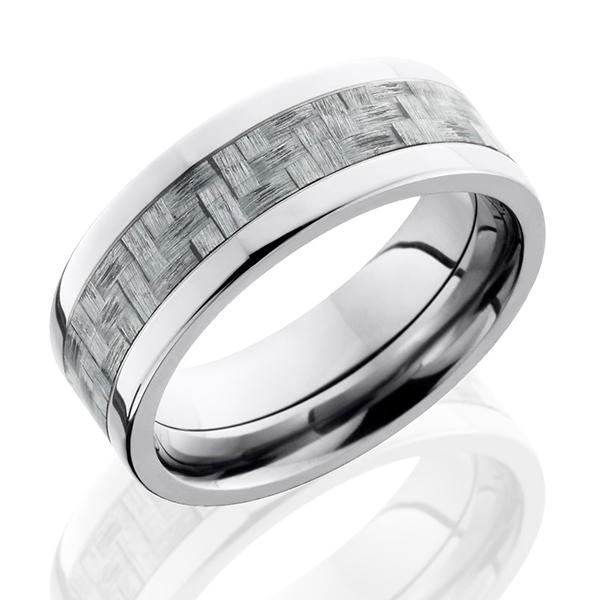 Men S Anium Wedding Band With Carbon Fiber Inlay