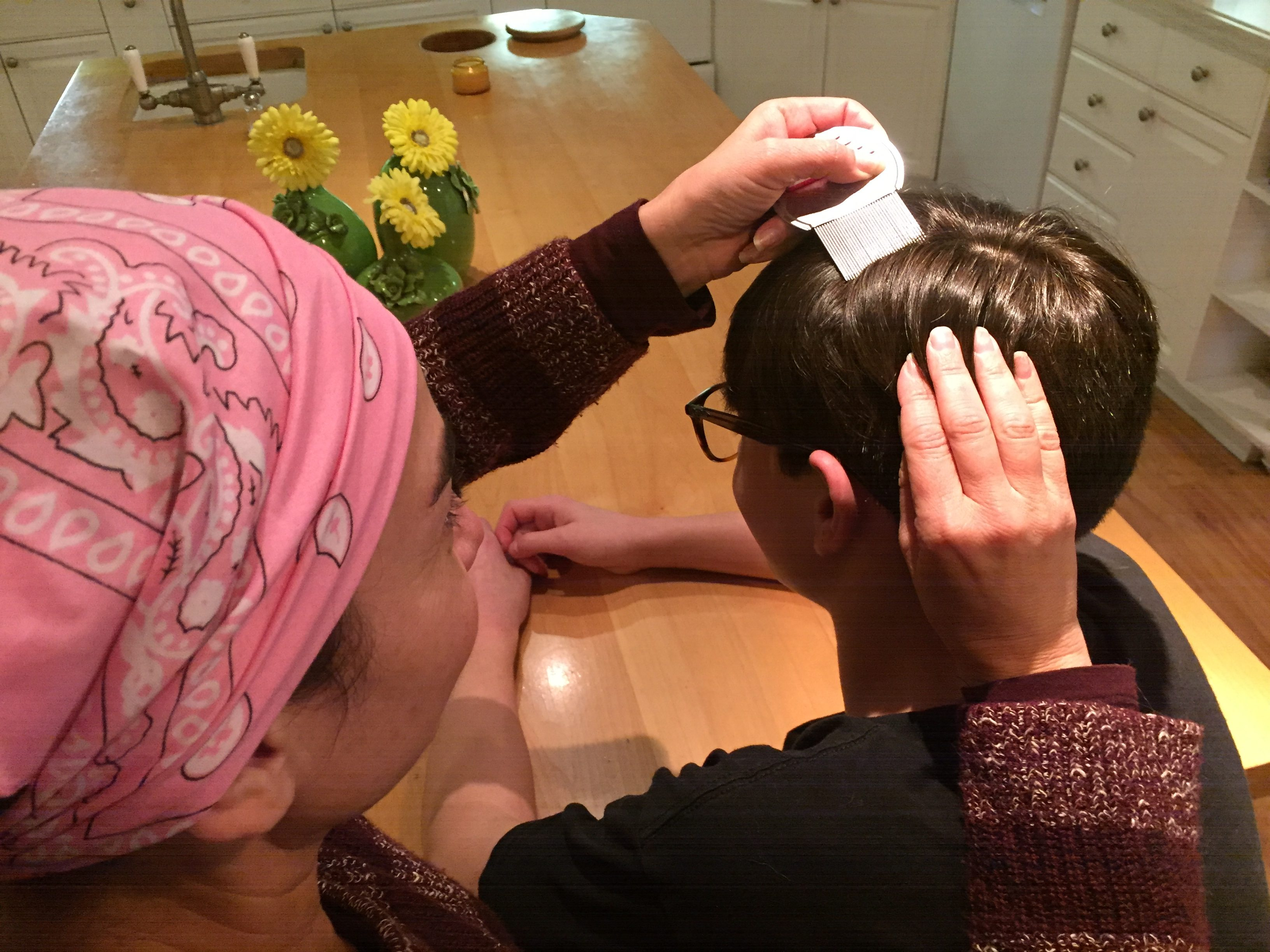 young boy having lice removed southern california