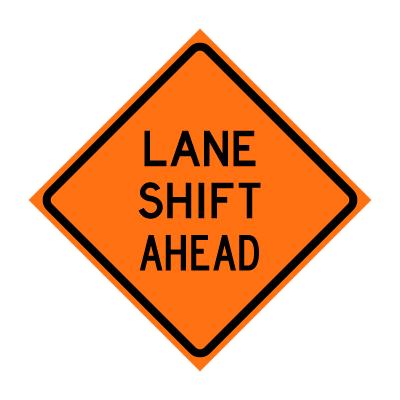 "36"" x 36"" Roll Up Traffic Sign - Lane Shift Ahead - Traffic Cones ..."