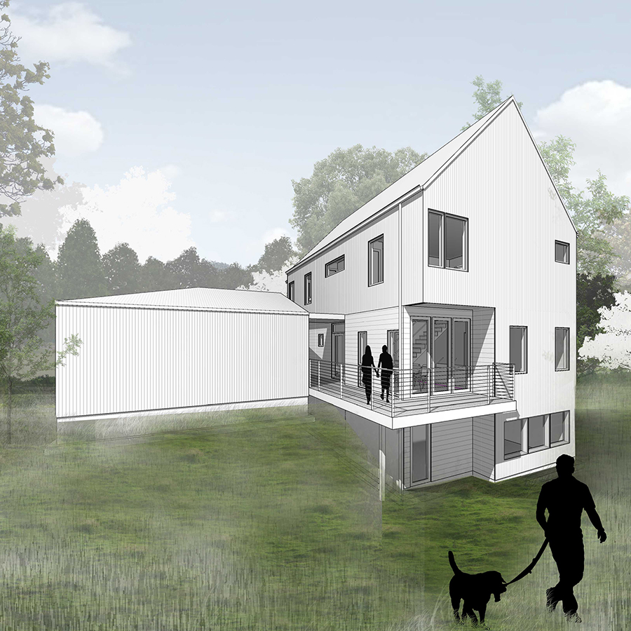 Rear perspective Farmhouse