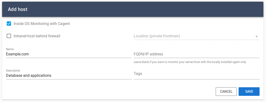 Easily add your server to be monitored