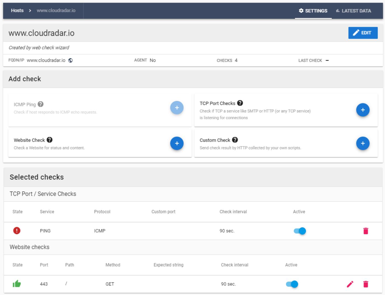 Customised Website Monitoring Checks