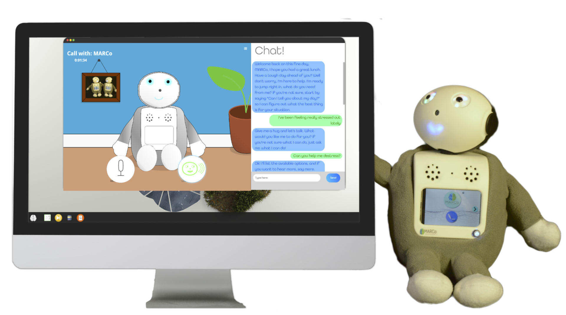 A smiling robot companion with a monitor showing a virtual companion mental health app