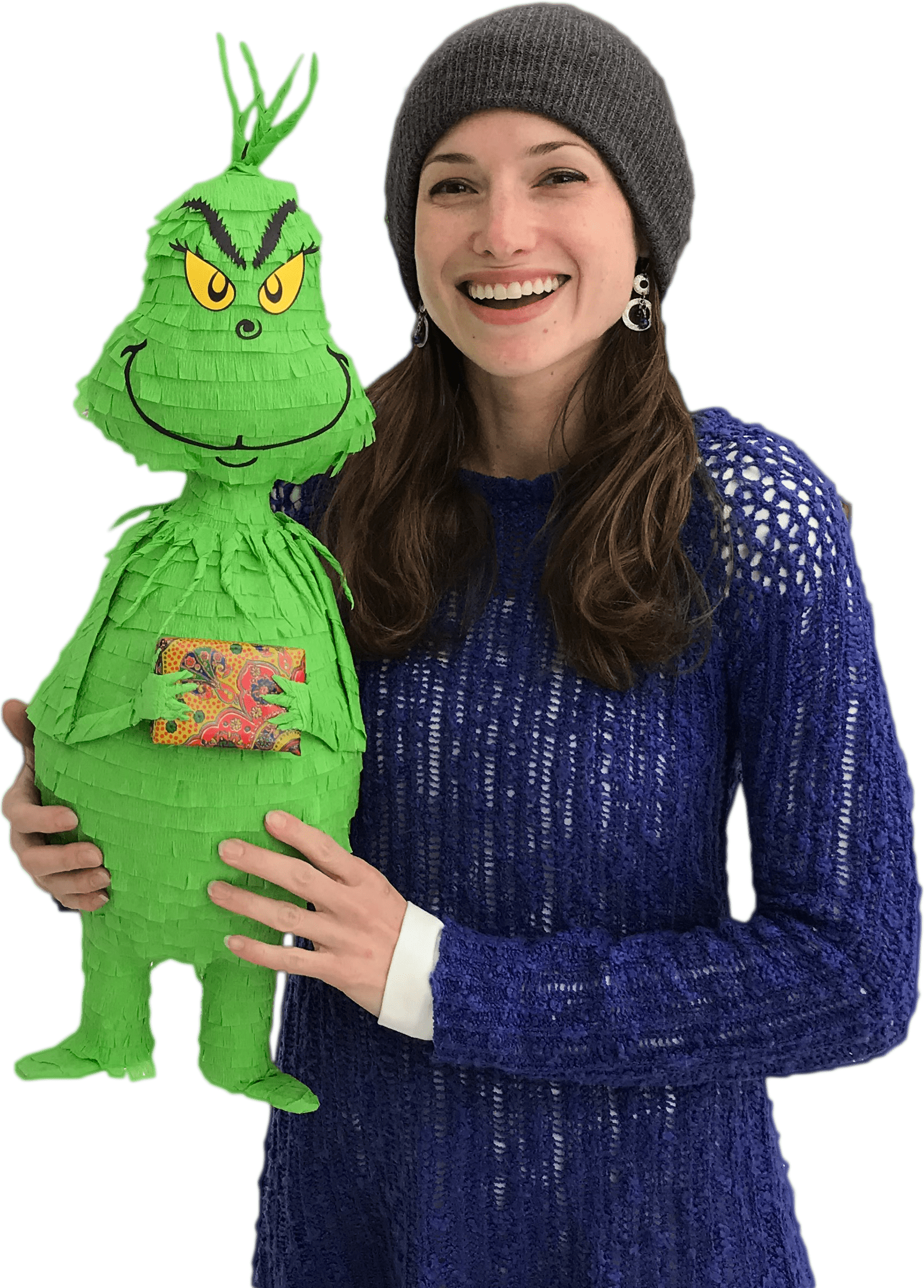 leah haney holding christmas grinch pinatas - owner