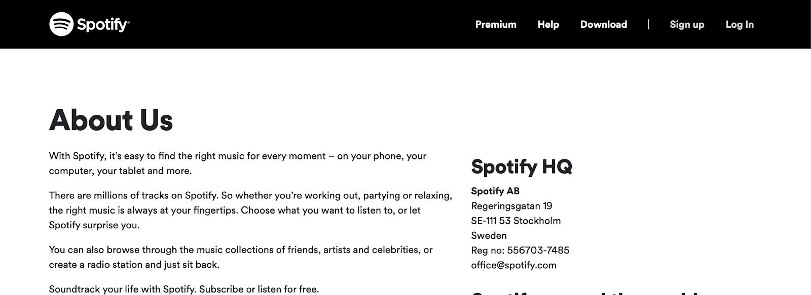 Neat Spotify web copy