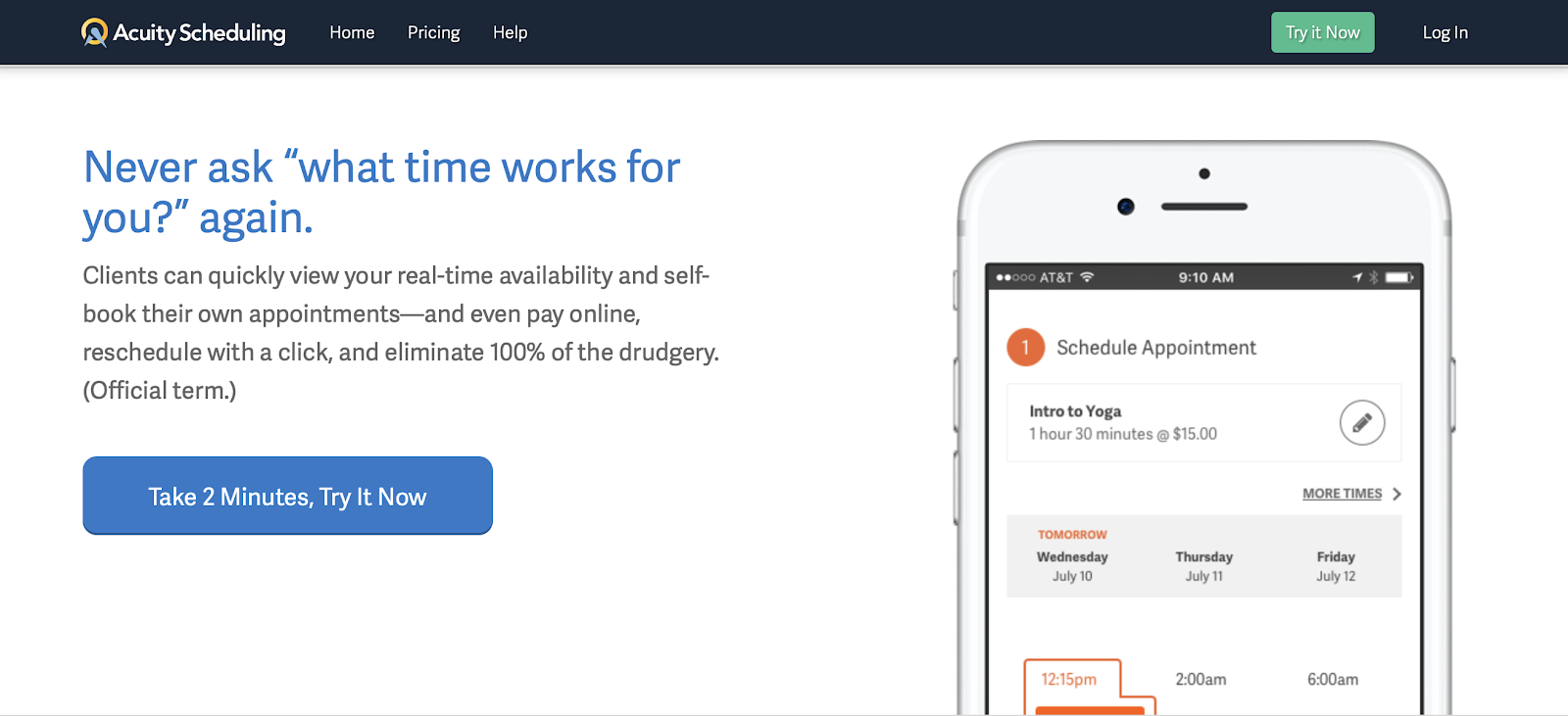 Neat web copy Acuity Scheduling