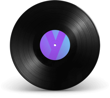 Vinyl record with Trusty website logo in the centre