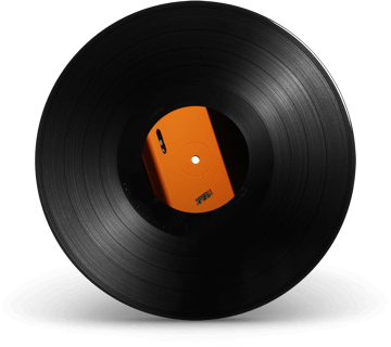 Vinyl record with Sony mobile phone in the centre