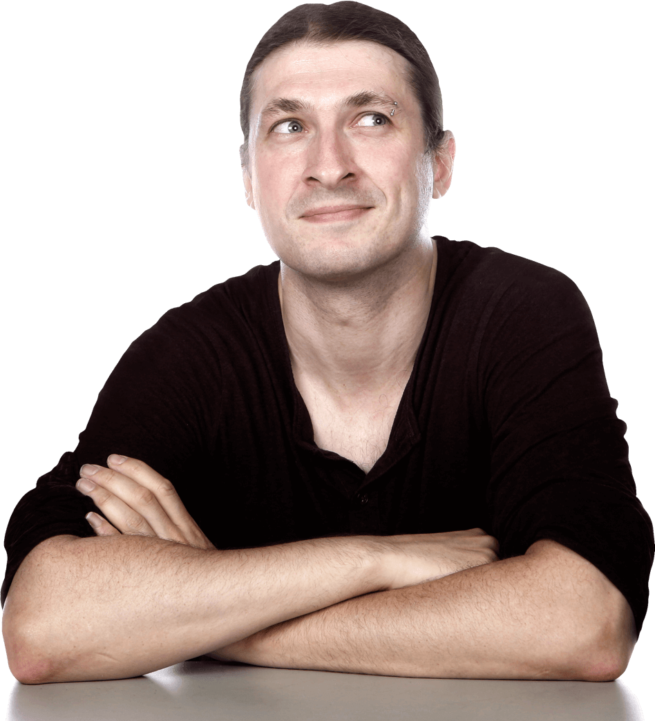 Tech writer Jon Evans sitting at a desk