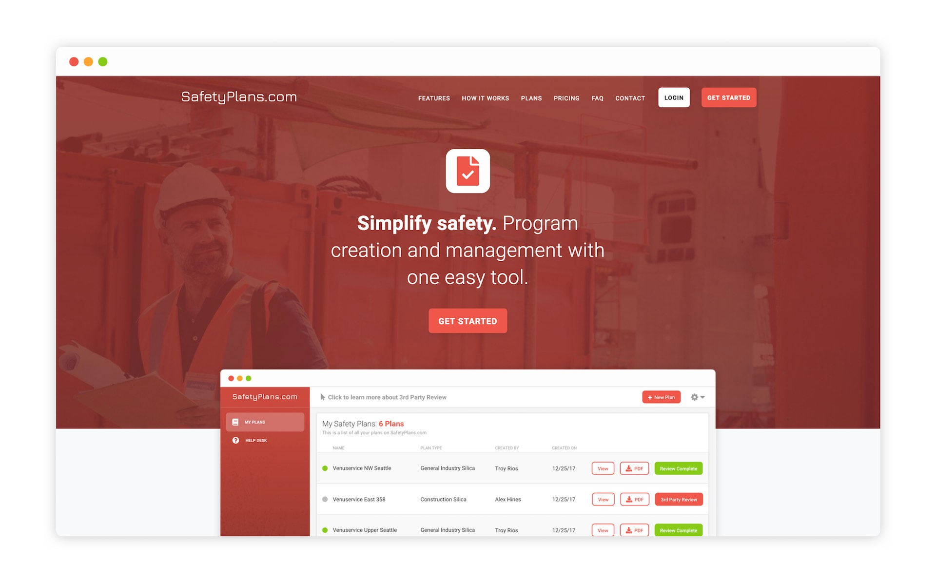 Home Page of SafetyPlans.com for iSi Environmental by Moonbase Labs