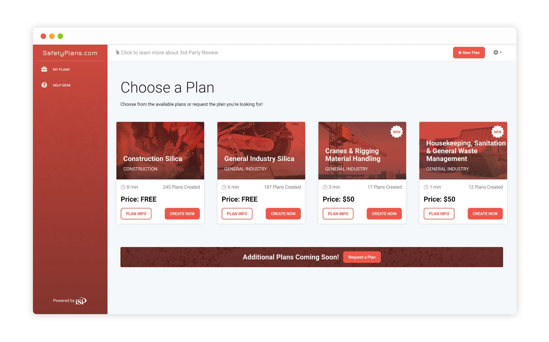 A View of a Screen Inside of SafetyPlans.com for iSi Environmental by Moonbase Labs