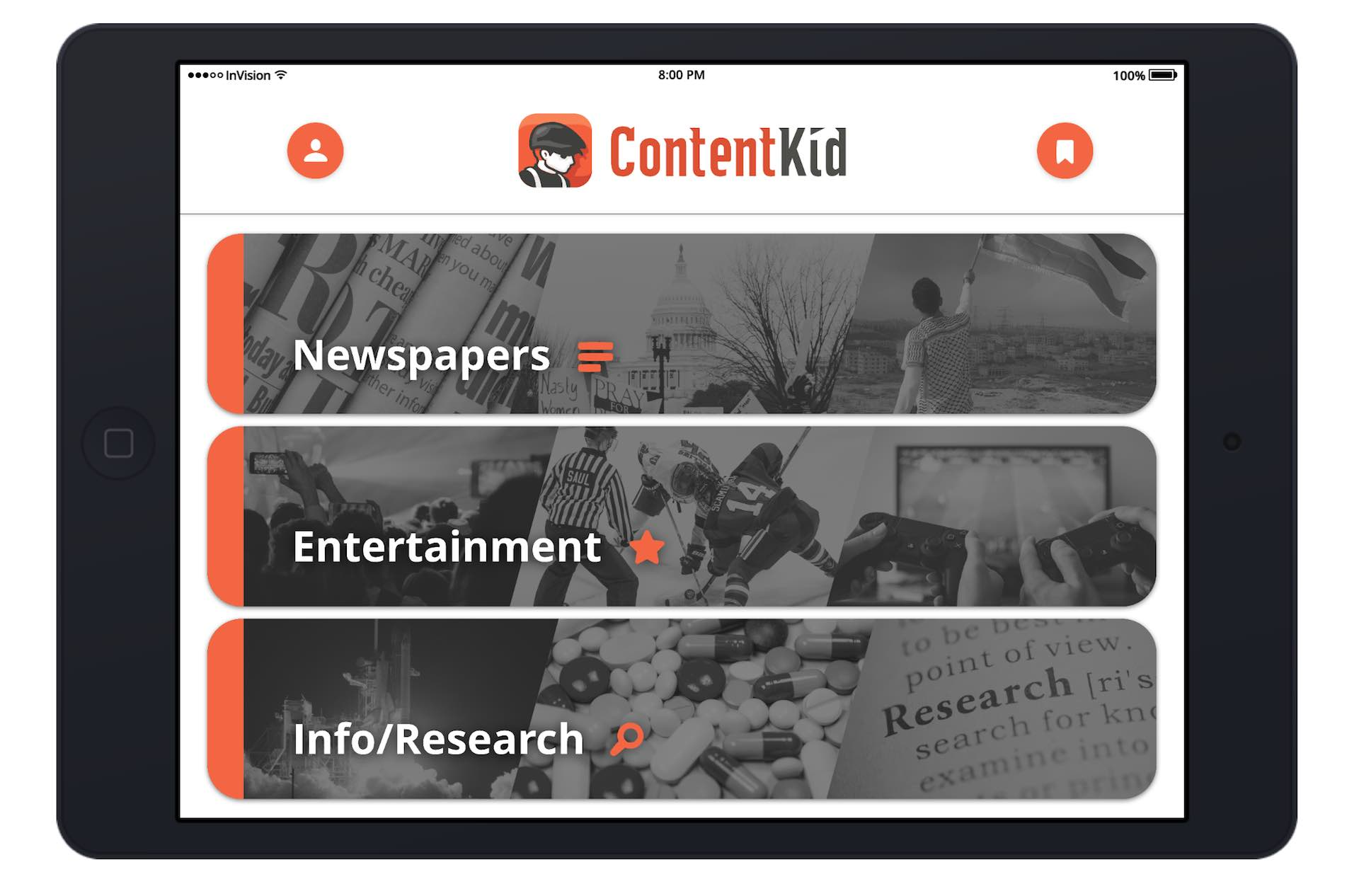 The ContentKid App Home Screen Design by Moonbase Labs