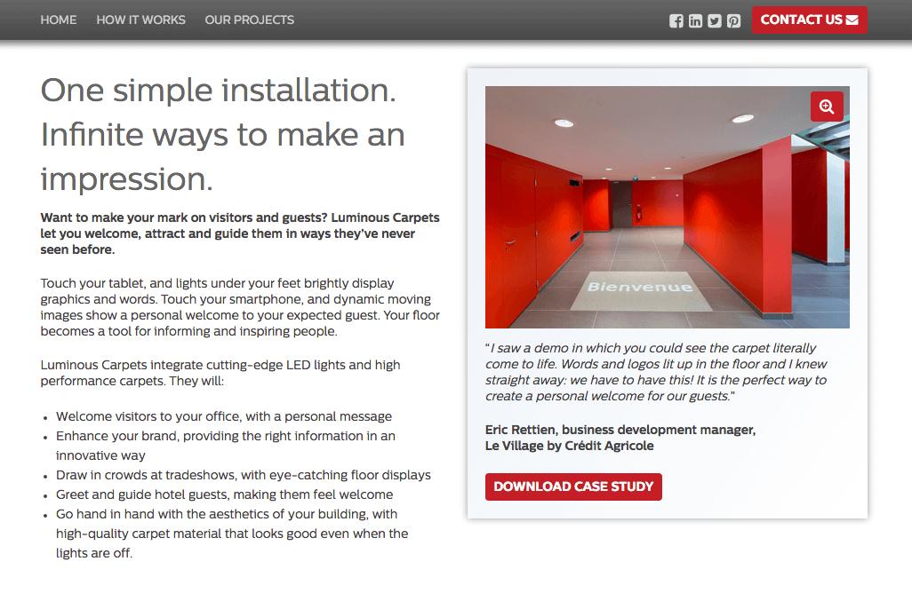 Philips Luminous carpets web page