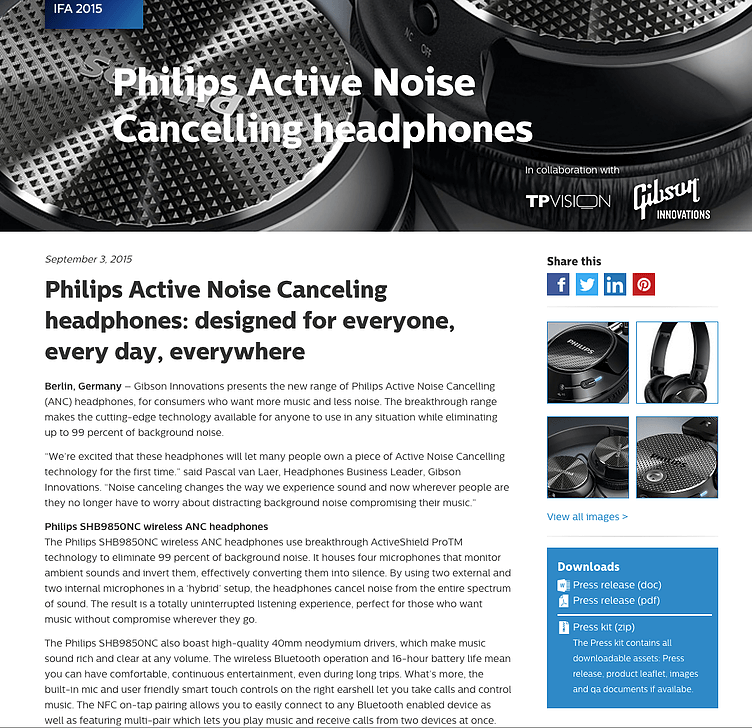 Philips noise cancelling headphones press release