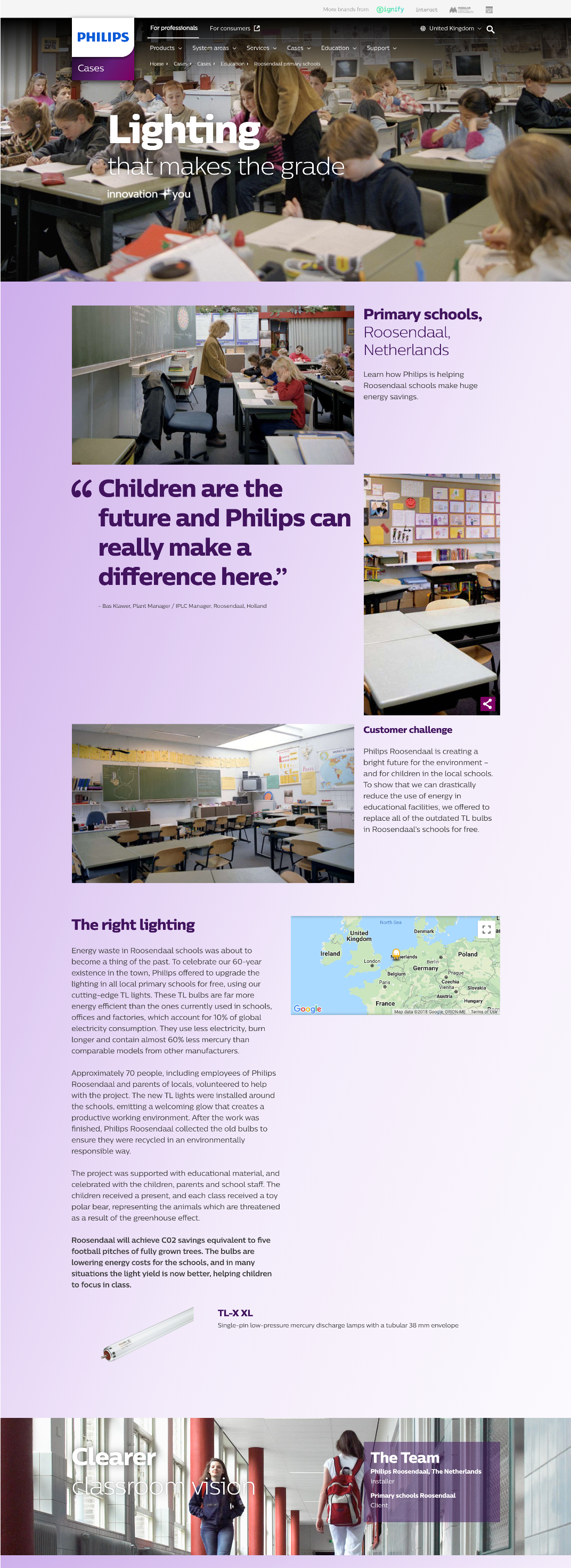 Philips lighting Roosendal case study web page