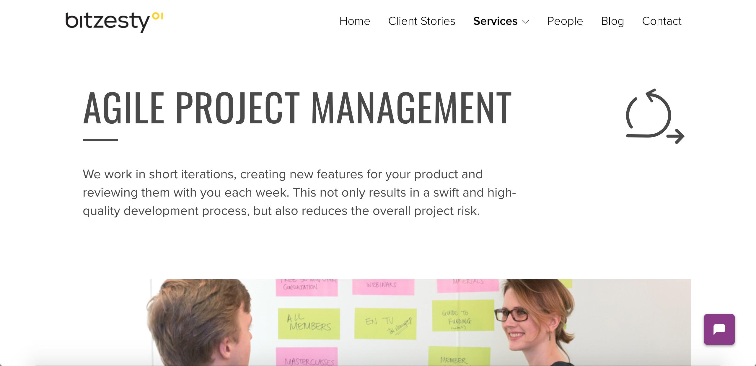 Bit Zesty agile project management service page