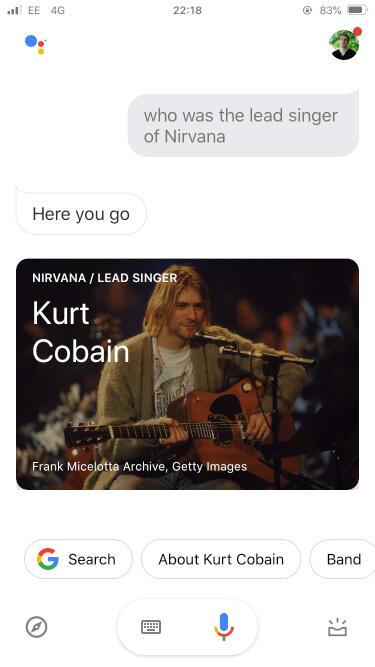 Google assistant kurt cobain results