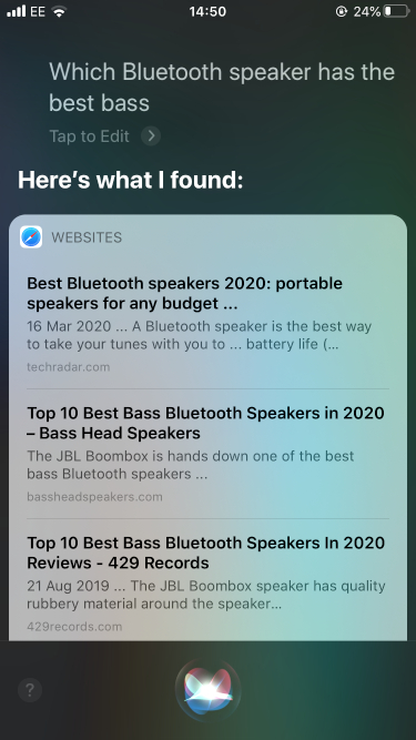 Bluetooth speaker Siri search results
