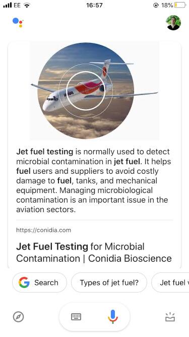 google result conidia jet fuel test