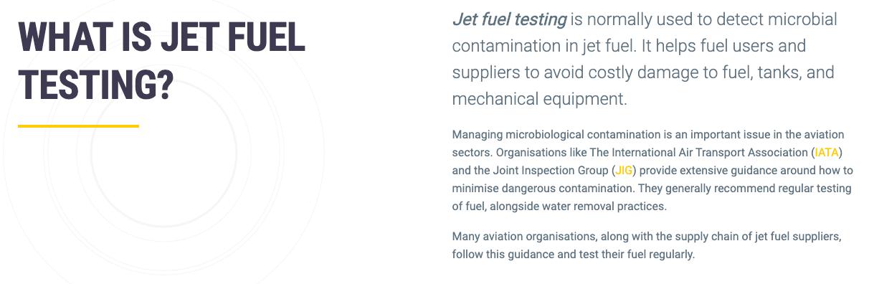 jet fuel testing body copy example