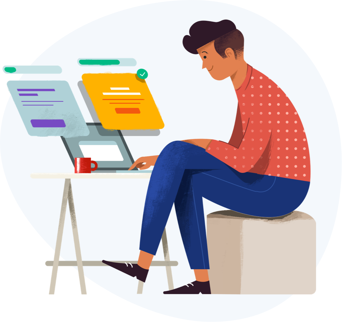 Illustration of designer working on designs