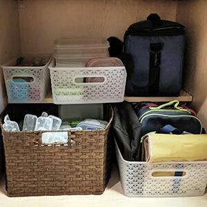Organized lunch cabinet in kitchen