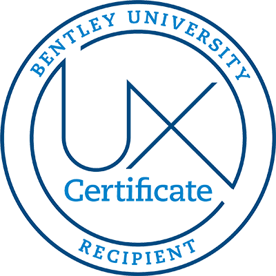 Bentley University UX Certificate Recipient