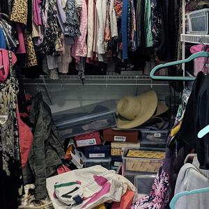 Organized bedroom closet
