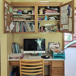 Organized desk in kitchen