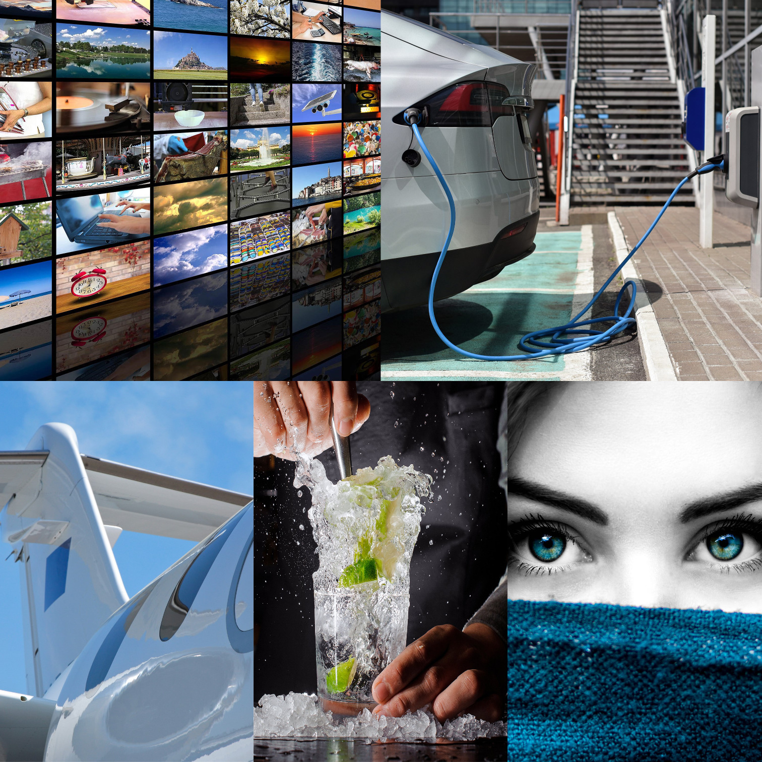 collage with video wall, electric car, jet, bartender, and woman
