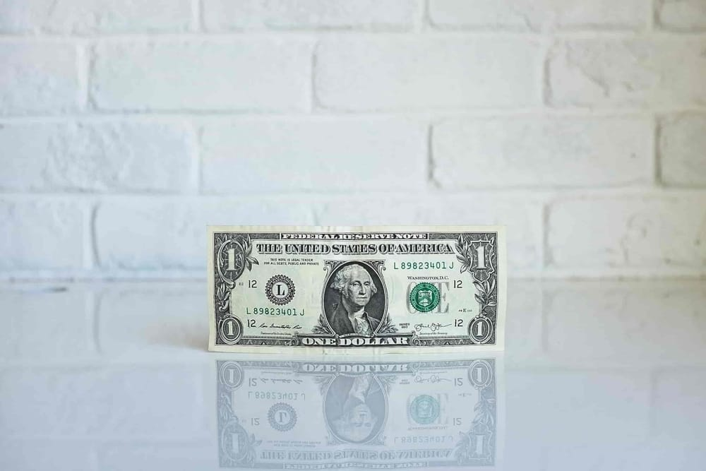 dollar bill by white wall