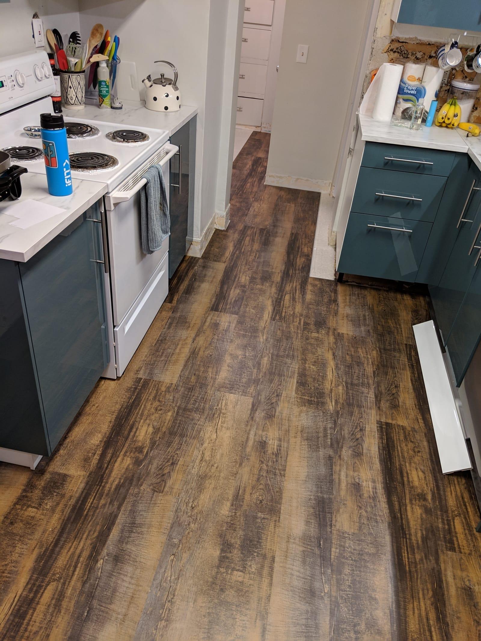vinyl plank floor in kitchen