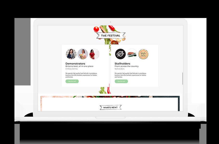 screenshot of a website on a laptop