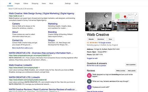 screenshot of google business