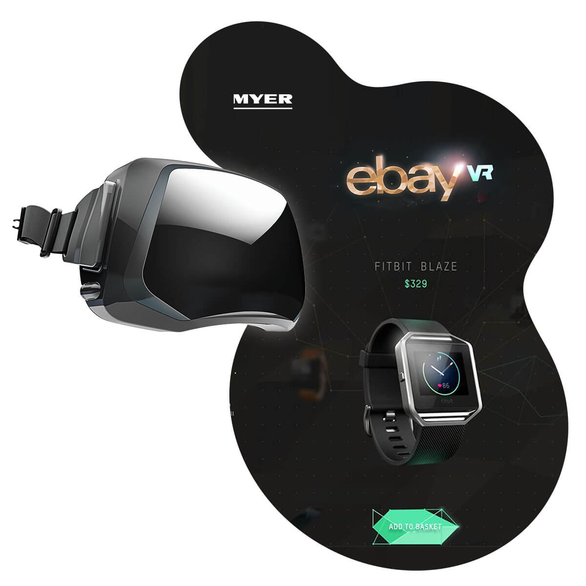 A mockup of eBay VR - the world's first virtual reality department store.