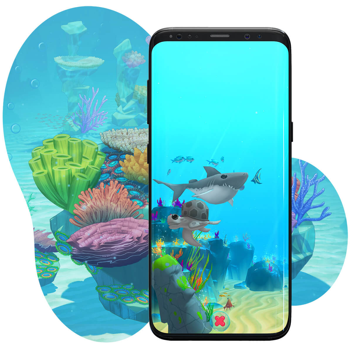 A screenshot of Rainbow Reef - a bubbly mobile gardening game inspired by the Great Barrier Reef.