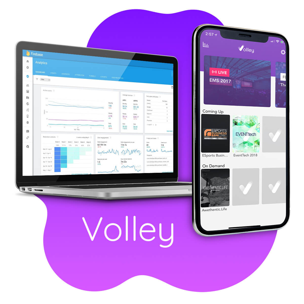 A mockup of the Volley app, which lets you capture, edit, curate, and distribute custom moments from live events.